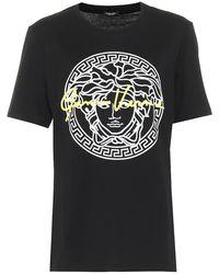Versace T-shirt in cotone con stampa Medusa - Nero