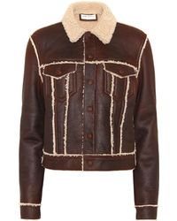 Saint Laurent Shearling-lined Leather Jacket - Brown