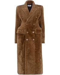 Balenciaga Hourglass Shearling Coat - Brown