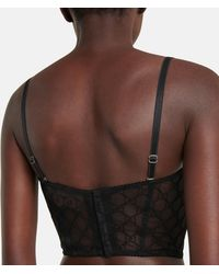 Gucci Soutien-gorge léger en tulle à motif gg brodé - Noir
