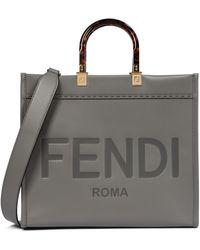 Fendi Sunshine Medium Leather Tote - Grey