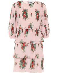 Ganni Minikleid aus Georgette - Pink