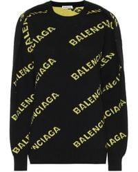 Balenciaga Logo-jacquard Wool-blend Sweater - Black