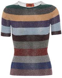Missoni Top a righe in maglia lamé - Multicolore