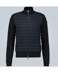 Moncler Tricot Cardigan With Down-filled Front - Blue