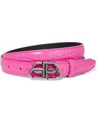 Balenciaga Cinturón BB de piel efecto coco - Rosa