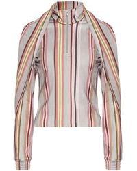 Y. Project Asymmetric Striped Blouse - Multicolor