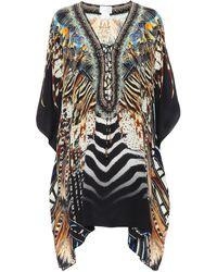 Camilla Caftán acordonado de seda estampado - Multicolor