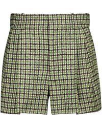 Chloé Shorts de tweed a cuadros - Verde
