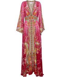 Camilla Printed Silk Maxi Dress - Pink