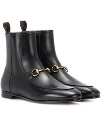 Gucci - Jordaan Leather Ankle Boots - Lyst