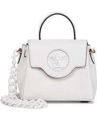 Versace La Medusa Small Leather Shoulder Bag - White