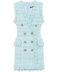 Balmain Vestido corto de tweed metalizado - Azul