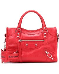 Balenciaga Classic City Mini Leather Tote - Red