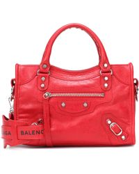 d38bb5a313 Lyst - Balenciaga Classic Mini Pompon Leather Shoulder Bag in Pink