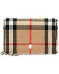 Burberry Checked Canvas Card Holder - Natural