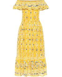 Juliet Dunn Exclusivité Mytheresa – Robe midi brodée en coton à ornements - Jaune