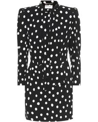 Saint Laurent Pussy-bow Polka-dot Crepe Mini Dress - Black