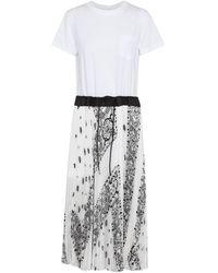 Sacai Bandana-print Midi Dress - White
