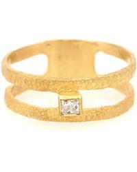 Elhanati Roxy Fine Graphic 18kt Gold Ring With Diamond - Metallic