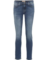 7 For All Mankind Mid-Rise Skinny Jeans Pyper Crop - Blau
