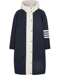 Thom Browne Down-padded Canvas Coat - Blue