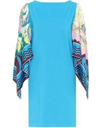 Emilio Pucci Silk-trimmed Cotton Minidress - Blue