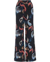 Crêpe Pantalon Imprimé En À Multicolore Ample Taille Haute PkXTZiOu