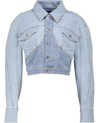 Mugler Veste raccourcie en jean - Bleu
