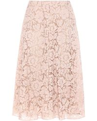 Valentino - Lace Cotton-blend Skirt - Lyst