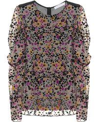 See By Chloé Flocked Velvet Printed Silk Top - Black