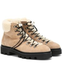 Nicholas Kirkwood Shearling And Suede Ankle Boots - Natural