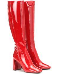 Prada Botas de charol - Rojo