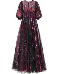 Costarellos Embroidered Tulle Gown - Purple