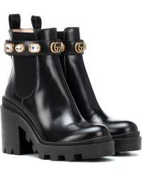Gucci Ankle Boots Trip aus Leder - Schwarz