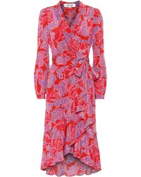 Diane von Furstenberg Exklusiv bei Mytheresa – Wickelkleid Carla aus Seide - Pink