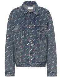 Balenciaga Giacca di jeans con logo - Blu