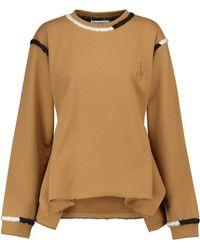 JW Anderson Sweat-shirt en jersey de coton brodé - Marron