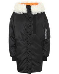 Miu Miu Fur-trimmed Down Coat - Black