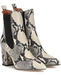 Paris Texas Snake-effect Leather Ankle Boots - Natural