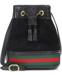 Gucci Ophidia Web-striped Mini Suede Bucket Bag - Black