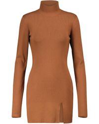 Zeynep Arcay Mini-robe en maille fendue sur les côtés - Marron