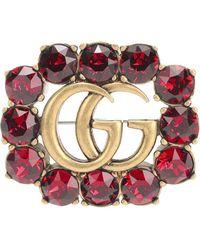 Gucci Spilla Doppia G in metallo con cristalli - Metallizzato