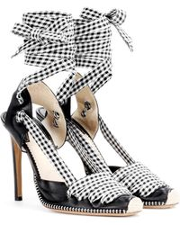 Altuzarra Leather and gingham lace-up d'Orsay pumps - Negro