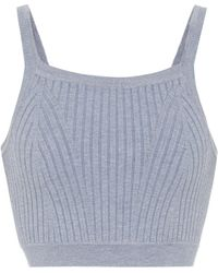 Live The Process Ribbed-knit Crop Top - Blue