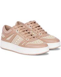 Jimmy Choo Verzierte Sneakers Hawaii/F aus Leder - Pink