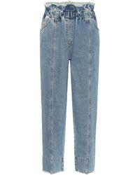 Philosophy Di Lorenzo Serafini Jeans tapered de tiro alto paperbag - Azul