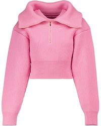 Jacquemus Cropped-Pullover La Maille Risoul aus Wolle - Pink