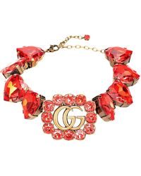 Gucci Choker Doppia G con cristalli - Rosso