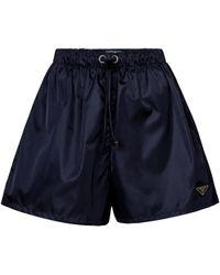Prada Shorts de Re-Nylon de tiro alto - Azul